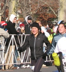 Susie crossing the finish line with her daughter, Natalie